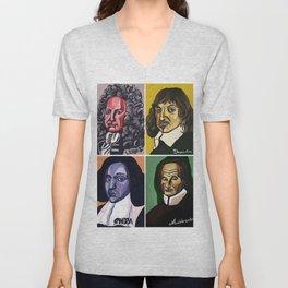Leibniz Descartes Spinoza Malebranche Unisex V-Neck