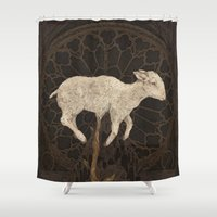 vegetable Shower Curtains featuring Vegetable Lamb of Tartary by Jessica Roux