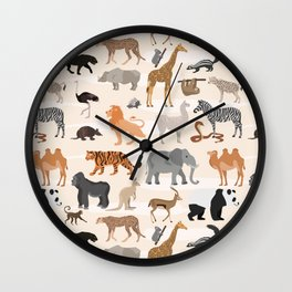 African animals pattern Wall Clock