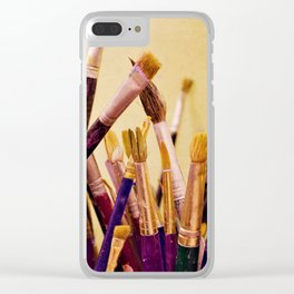 Paintbrushes Clear iPhone Case