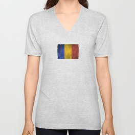 Old and Worn Distressed Vintage Flag of Romania Unisex V-Neck