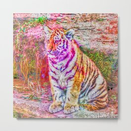 Painted young Tiger Metal Print