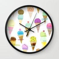 ice cream Wall Clocks featuring Ice cream  by maria carluccio