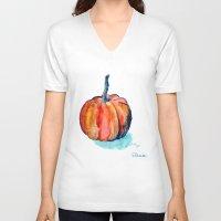 pumpkin V-neck T-shirts featuring Pumpkin by Elena Sandovici