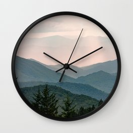 Smoky Mountain Pastel Sunset Wall Clock