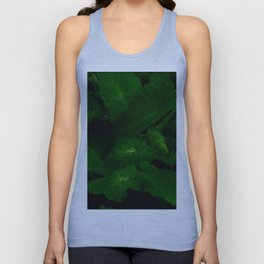 Tropical Anthurium Leaves With Rain Water Droplets In A Dark Background Unisex Tank Top