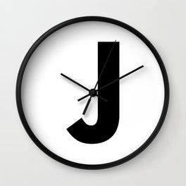 Letter J (Black & White) Wall Clock