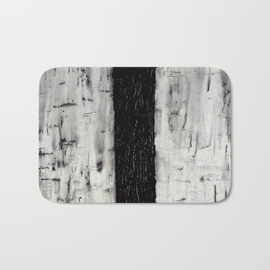 Dark Path - Black and white abstract Bath Mat