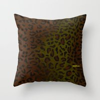 Modern Woodgrain Camouflage / Zaire KDP Print Throw Pillow