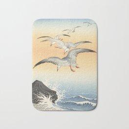 Japanese Seagull Woodblock Print by Ohara Koson Bath Mat