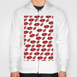 Hand painted red green strawberries lips pattern Hoody