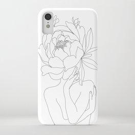 Minimal Line Art Woman Flower Head iPhone Case