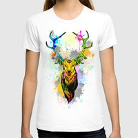 popart T-shirts featuring Deer PopArt Dripping Paint by BluedarkArt