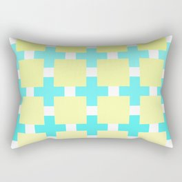 A mosaic in pastel blue and beige color Rectangular Pillow