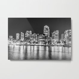 Downtown Vancouver at Night Black and White Metal Print