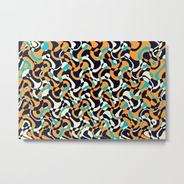 Bubbles and curves, abstract geometric design in orange and blue Metal Print
