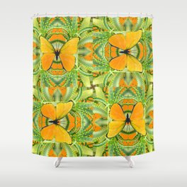 GOLDEN BUTTERIES ON GREEN ALOE CACTUS DESIGNS Shower Curtain