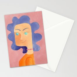 Woman with purple hair Stationery Cards