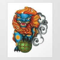 foo fighters Art Prints featuring Foo Dog by missfortunetattoo
