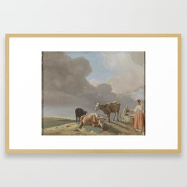 Landscape with cows, sheep and shepherdess, altered copy of a painting by Paulus Potter, the shepher Framed Art Print