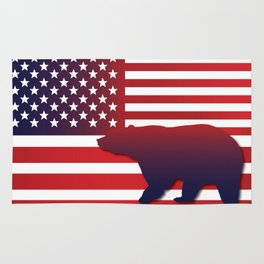 American flag Bear California Rug
