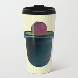 A single plum floating in perfume served in a man's hat. Travel Mug