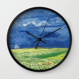Wheatfield under thunderclouds by Vincent van Gogh Wall Clock