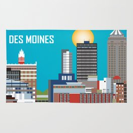 Des Moines, Iowa - Skyline Illustration by Loose Petals Rug