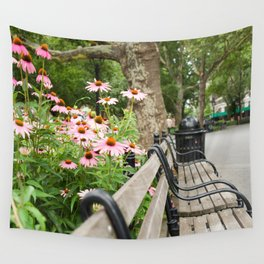 City Bench Flowers Wall Tapestry