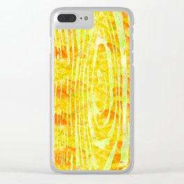 Yellow Wood Print Clear iPhone Case