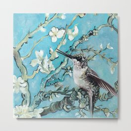 Almond Blossom with Hummingbirds III Metal Print