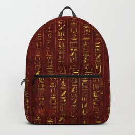 Golden Egyptian  hieroglyphics on red leather Backpack