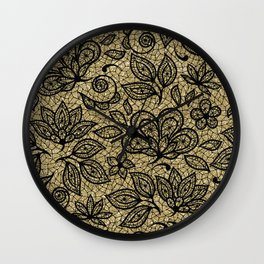 Black and Gold Lace Effect Floral Wall Clock