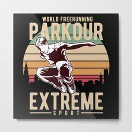 Parkour Retro style Design Metal Print