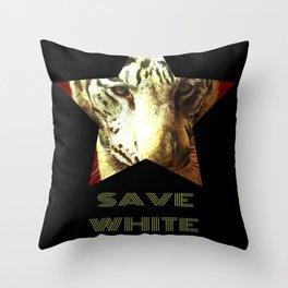 Save White Tiger, tiger print, white tiger wall decor, tiger gift idea Throw Pillow