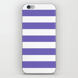 Blue-violet (Crayola) - solid color - white stripes pattern iPhone Skin
