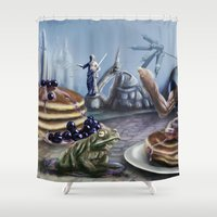 justice Shower Curtains featuring Pancake Justice by NubSix