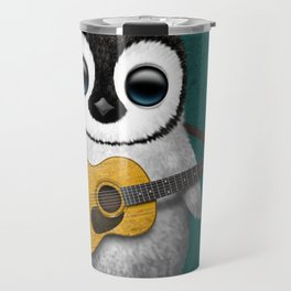 Musical Baby Penguin Playing Acoustic Guitar on Teal Blue Travel Mug