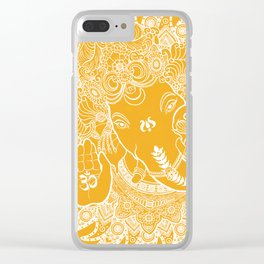 Ganesha Lineart Yellow White Clear iPhone Case
