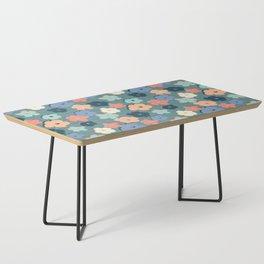 Peach and Aqua Flower Grid Coffee Table