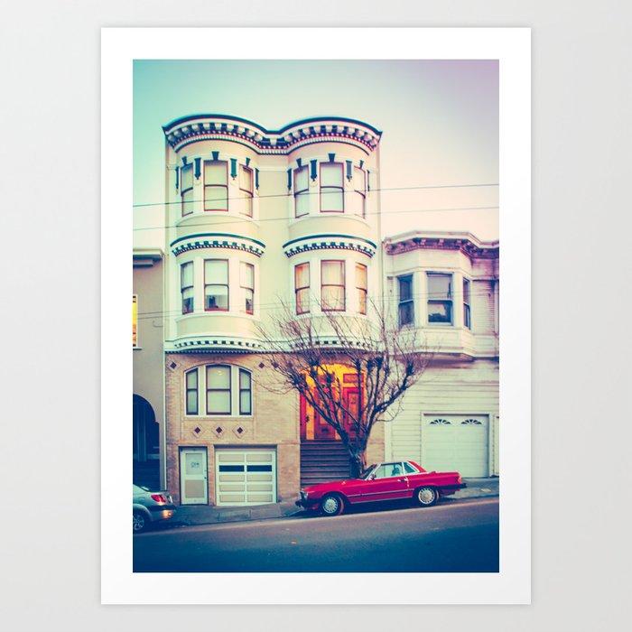 Red Car in San Francisco Fine Art Print Art Print