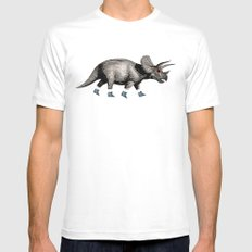 Triceratops Mens Fitted Tee MEDIUM White