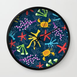 Seabed, ocean pattern design Wall Clock