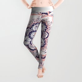 Woven Dream - Pink, Navy & White Mandala Leggings