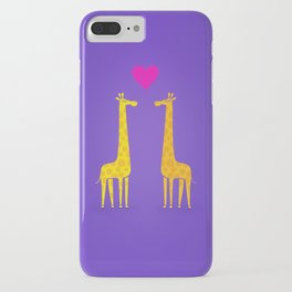 Cute cartoon giraffe couple in Love (Purple Edition) iPhone Case