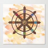buddhism Canvas Prints featuring Buddhism Dharma Wheel by Rachael Amber