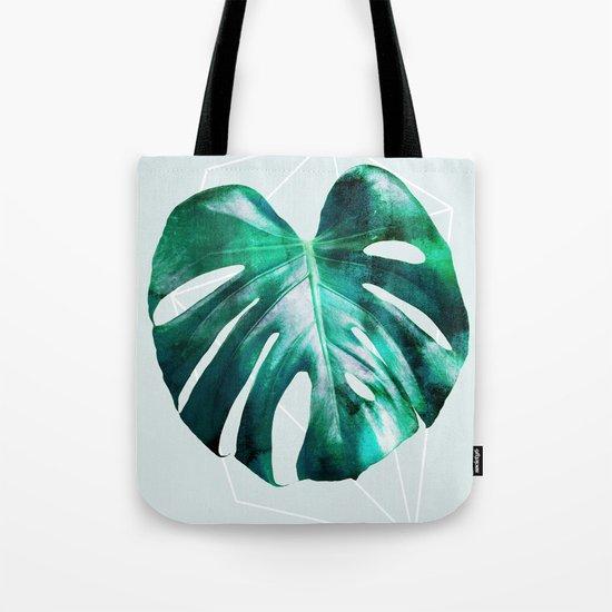 Monstera 2 Geometry Tote Bag