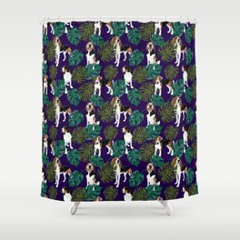 Tropical Treeing Walker Coonhounds Shower Curtain
