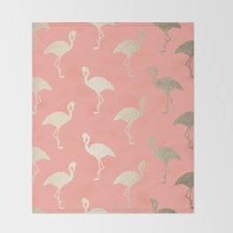 Gold Flamingo Pattern Coral Pink Throw Blanket