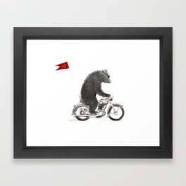 Motorcycle Bear Framed Art Print
